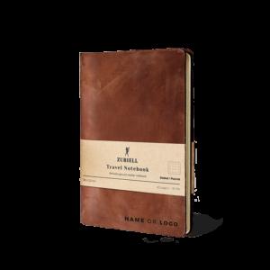 Travel-Notebook-Zuriell-agenda-din-piele-naturala-maro-personalizata-eleganta-lux-reutilizabila-premium-cadou-personalizat-punctata