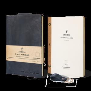 Zuriell-set-starter-agenda-din-piele-naturala-neagra-personalizata-eleganta-lux-premium-reutilizabila-cadou-personalizat-agenda-rezerva-breloc-punctata
